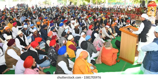 Jaipur, India- Dec.4, 2019: Chief Minister of Rajasthan Ashok Gehlot addresses to Sikh community during the Shabad Kirtan held on the occasion of 550th Anniversary of Shri Guru Nanak Dev ji at Jaipur.