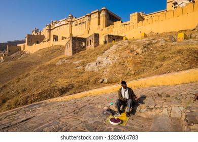 Jaipur, India - December 23, 2018, Locals doing business at Amber Fort at Jaipur, North India