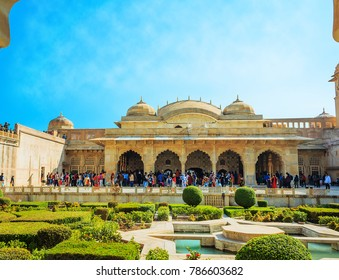 JAIPUR, INDIA - DECEMBER 26: Unidentified Indian tourists at Amer Fort outside Jaipur in Rajasthan is one of the major tourist attractions in India on December 26, 2017, Jaipur, India.