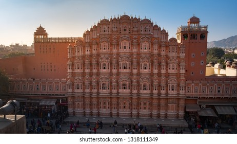 Jaipur, India - December 29, 2018 : View of facade of Hawa Mahal or Palace of Breeze, one of the most visited tourist attractions in Jaipur.
