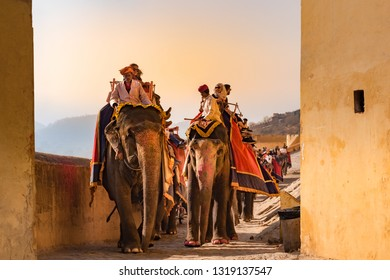 Jaipur, India - December 29, 2018 : Unidentified people riding elephants up the hill to the main entrance of Amber Fort, one of the most famous forts of Rajasthan, in beautiful golden light.