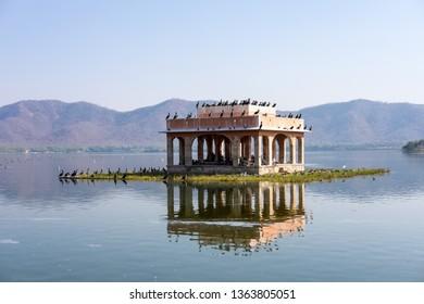 Jaipur, India - December 31, 2018, water palace Jal Mahal in the Man Sagar lake, Jaipur, Rajasthan, India