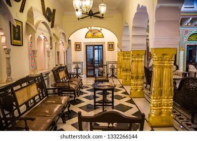 JAIPUR- INDIA -Feb 7, 2019- Hallway  of the Hotel Jai Mahal Palace