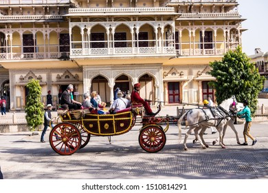 Jaipur, India - February 08, 2019,  City Palace, a palace complex in Jaipur, Rajasthan, India. It was the seat of the Maharaja of Jaipur, the head of the Kachwaha Rajput clan.