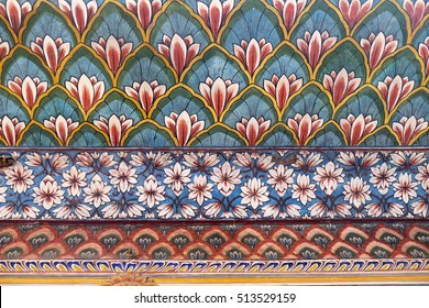 JAIPUR, INDIA - FEBRUARY 16: Wall paintings in the Chandra Mahal, Jaipur City Palace in Jaipur, Rajasthan, India, on February 16, 2016.