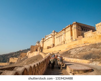 JAIPUR, INDIA - FEBRUARY 2, 2011: Up to Amer fort on Elephant. Amer fort or Amber fort completed in 1592 was the residence of the Rajput Maharajas in Jaipur. It is a UNESCO World Heritage site.