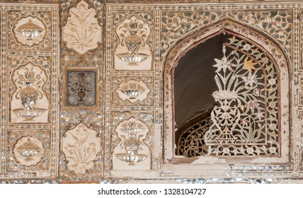 JAIPUR, INDIA - FEBRUARY 2, 2011: Detail from Sheesh Mahal, the Mirror Palace, a famous palace in the third courtyard of Amer Fort in Jaipur. Amer Fort or Amber Fort is a a UNESCO World Heritage site.