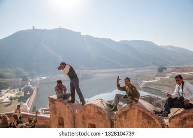 JAIPUR, INDIA - FEBRUARY 2, 2011: Photographers at Amer fort or Amber fort completed in 1592 was the residence of the Rajput Maharajas in Jaipur. It is a UNESCO World Heritage site.