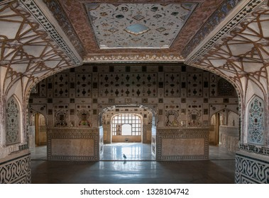 JAIPUR, INDIA - FEBRUARY 2, 2011: Interior of Sheesh Mahal, the Mirror Palace, a famous palace in the third courtyard of Amer Fort in Jaipur. Amer Fort or Amber Fort is a a UNESCO World Heritage site.