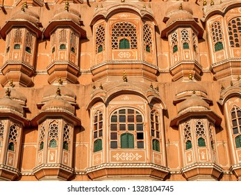 JAIPUR, INDIA - FEBRUARY 2, 2011: Detail of Hawa Mahal, the palace of winds, is an iconic building in Jaipur.  The building was completed in 1799.