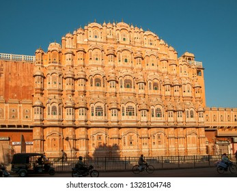 JAIPUR, INDIA - FEBRUARY 2, 2011: Morning at Hawa Mahal, the palace of winds, which is an iconic building in Jaipur.  The building was completed in 1799.