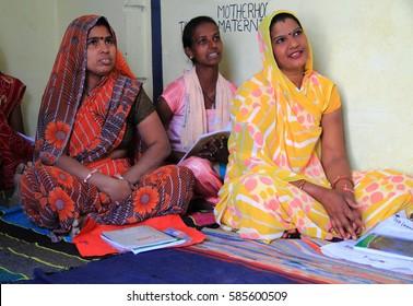 JAIPUR, INDIA - FEBRUARY 25, 2015: women are visiting center for women empowerment in Jaipur, India