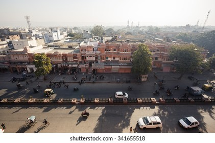 JAIPUR, INDIA - JANUARY 10, 2015: City view with buildings and roofs on January 10, 2015 in Jaipur, India