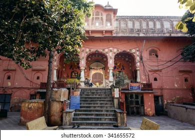 JAIPUR, INDIA - JANUARY 10, 2015: Old hindu temple with stairs on January 10, 2015 in Jaipur, India