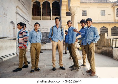 JAIPUR, INDIA - JANUARY 10, 2015: Group of Indian male students on January 10, 2015 in Jaipur, India