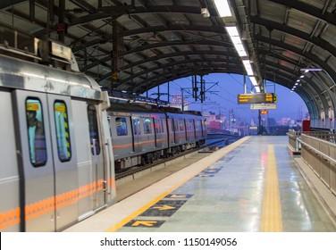 JAIPUR, INDIA - JANUARY 3, 2016: The train coming to platform at Sindhi Camp Station. Jaipur Metro is a rapid transit system service between Chandpole and Mansarovar. Jaipur. Rajasthan. India. Asia.