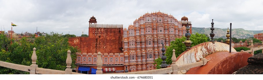 Jaipur, India - Jul 28, 2015. Panorama view of Hawa Mahal (Wind Palace) in Jaipur, India. Hawa Mahal is one of the prominent tourist attractions in Jaipur city.