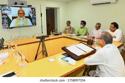 Jaipur, India - June 17, 2020: Rajasthan Chief Minister Ashok Gehlot attends Prime Minister Narendra Modi's meeting with Chief Ministers of States/UTs on COVID-19 situation via video conferencing.