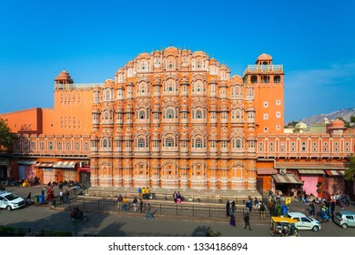 JAIPUR, INDIA - MAR 2: Hawa Mahal palace - Palace of the Winds on March 2, 2019 in Jaipur, India. Hawa Mahal is one of the most famous Rajasthan landmark in Jaipur.