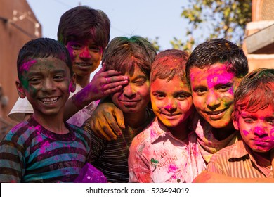 Jaipur, India - Mar 5, 2015:  Holi, also known as the festival of colours or the festival of sharing love