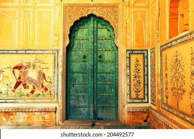 JAIPUR, INDIA - MARCH 08: Interior mughal architectural details of Nahargarh Fort, March 08, 2012,