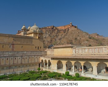 Jaipur, India - March 10, 2018: The scenery inside the Amber Fort  which is the landmark of  Jaipur city, Rajasthan State, India.