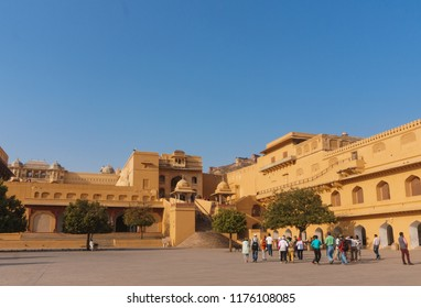Jaipur, India - March 10, 2018: Tourists visiting inside the Amber Fort  which is the landmark of  Jaipur city, Rajasthan State, India.