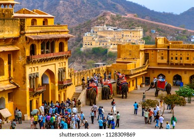 JAIPUR, INDIA - MARCH 15, 2016 : Amer Fort, Amer, Rajasthan. The magnificent fort comprises an extensive palace complex, divided into several sections.