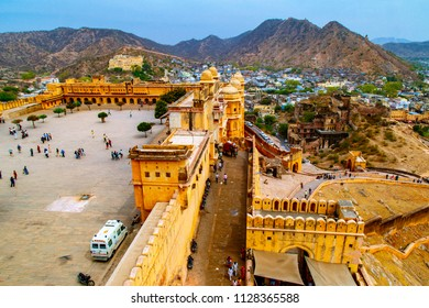 JAIPUR, INDIA - MARCH 15, 2016 : Amer or Amber Fort, Amer, Rajasthan. The magnificent fort comprises an extensive palace complex, divided into several sections.