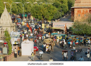 Jaipur, India - March 30, 2007: View to the busy street of the city during evening rush hour in Jaipur, India.