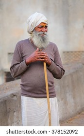 JAIPUR, INDIA - NOVEMBER 14: Unidentified man walks to Galta Temple on November 14, 2014  in Jaipur, India. Jaipur is the capital and largest city of the Indian state of Rajasthan.