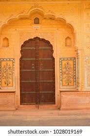 Jaipur, India - November 18, 2017: Colorful decorative doors and walls in Nahargarh fort.