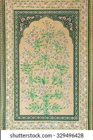 JAIPUR, INDIA - NOVEMBER 18: old indian floral ornament on door