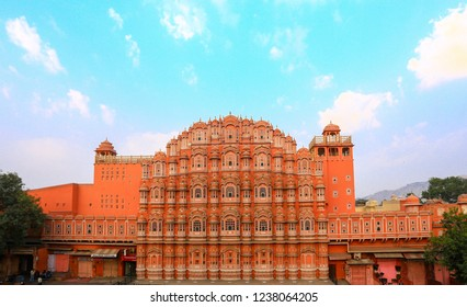 Jaipur, India - November 22, 2018 : Hawa Mahal is a palace in Jaipur, India. It is constructed of red and pink sandstone. The palace sits on the edge of the City Palace, Jaipur.