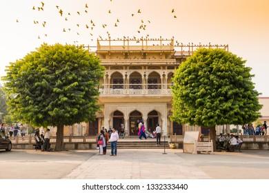 Jaipur, India - November 22, 2018: Mubarak Mahal Palace. The Palace was the seat of the Maharaja of Jaipur, the head of the Kachwaha Rajput clan.