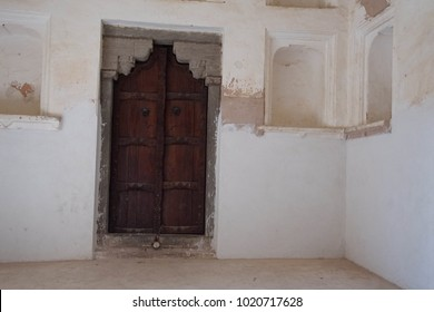 JAIPUR, INDIA - OCT 11, 2017 - Detail, door of zenana Queen's quarters in the  Amber Fort near  Jaipur, Rajasthan, India