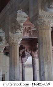 JAIPUR, INDIA - OCT 11, 2017 - Carved  columns and lintels of the Diwan-e-Aam,  Amber Fort near  Jaipur, Rajasthan, India
