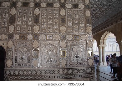JAIPUR, INDIA - OCT 11, 2017 - Intricate pattern n the Sheesh Mahal ( Mirror Palace ) Amber Fort near  Jaipur, Rajasthan, India