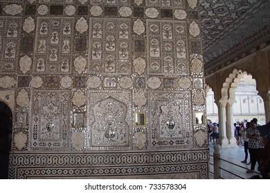 JAIPUR, INDIA - OCT 11, 2017 - Intricate pattern n the Sheesh Mahal ( Mirror Palace ) Amber Fort near  Jaipur, Rajasthan, India
