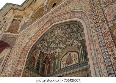 JAIPUR, INDIA - OCT 11, 2017 - Ganesh Pol Gate, entrance to private parts of palace in   Amber Fort near  Jaipur, Rajasthan, India