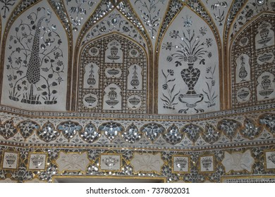 JAIPUR, INDIA - OCT 11, 2017 - Intricate pattern in the Sheesh Mahal ( Mirror Palace ) Amber Fort near  Jaipur, Rajasthan, India