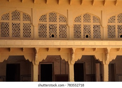 JAIPUR, INDIA - OCT 11, 2017 - Wall decorations of the Zenana Queen's quarters in the  Amber Fort near  Jaipur, Rajasthan, India