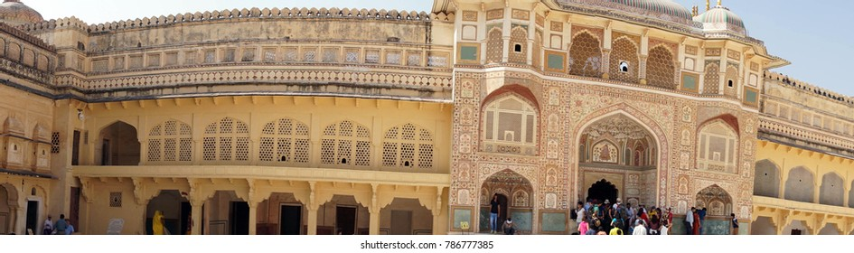 JAIPUR, INDIA - OCT 11, 2017 - Panorama of interior of  Amber Fort near  Jaipur, Rajasthan, India