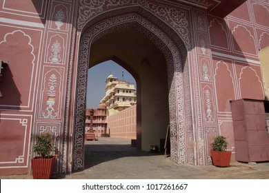 JAIPUR, INDIA - OCT 12, 2017 - Pink gate of the City Palace of  Jaipur, Rajasthan, India
