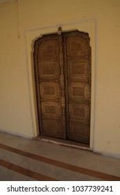 JAIPUR, INDIA - OCT 12, 2017 - Doors in the City Palace of  Jaipur, Rajasthan, India