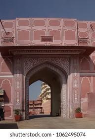 JAIPUR, INDIA - OCT 12, 2017 - Pink gate of the City Palace of  Jaipur, Rajasthan, India