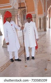JAIPUR, INDIA - OCT 12, 2017 - Guards at the City Palace of  Jaipur, Rajasthan, India