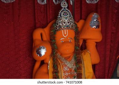 JAIPUR, INDIA - OCT 12, 2017 - Hanuman monkey god statue in the Govind Temple,  Jaipur, Rajasthan, India
