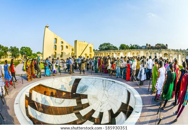 JAIPUR, INDIA - OCT 18: people visit Jantar Mantar observatory on Oct 18, 2012 in Jaipur, India. The  collection of architectural astronomical instruments, were built by Sawai Jai Singh.