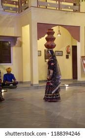 JAIPUR, INDIA - OCT 8, 2017 - Rajasthani dancer in traditional costume,  Jaipur, Rajasthan, India